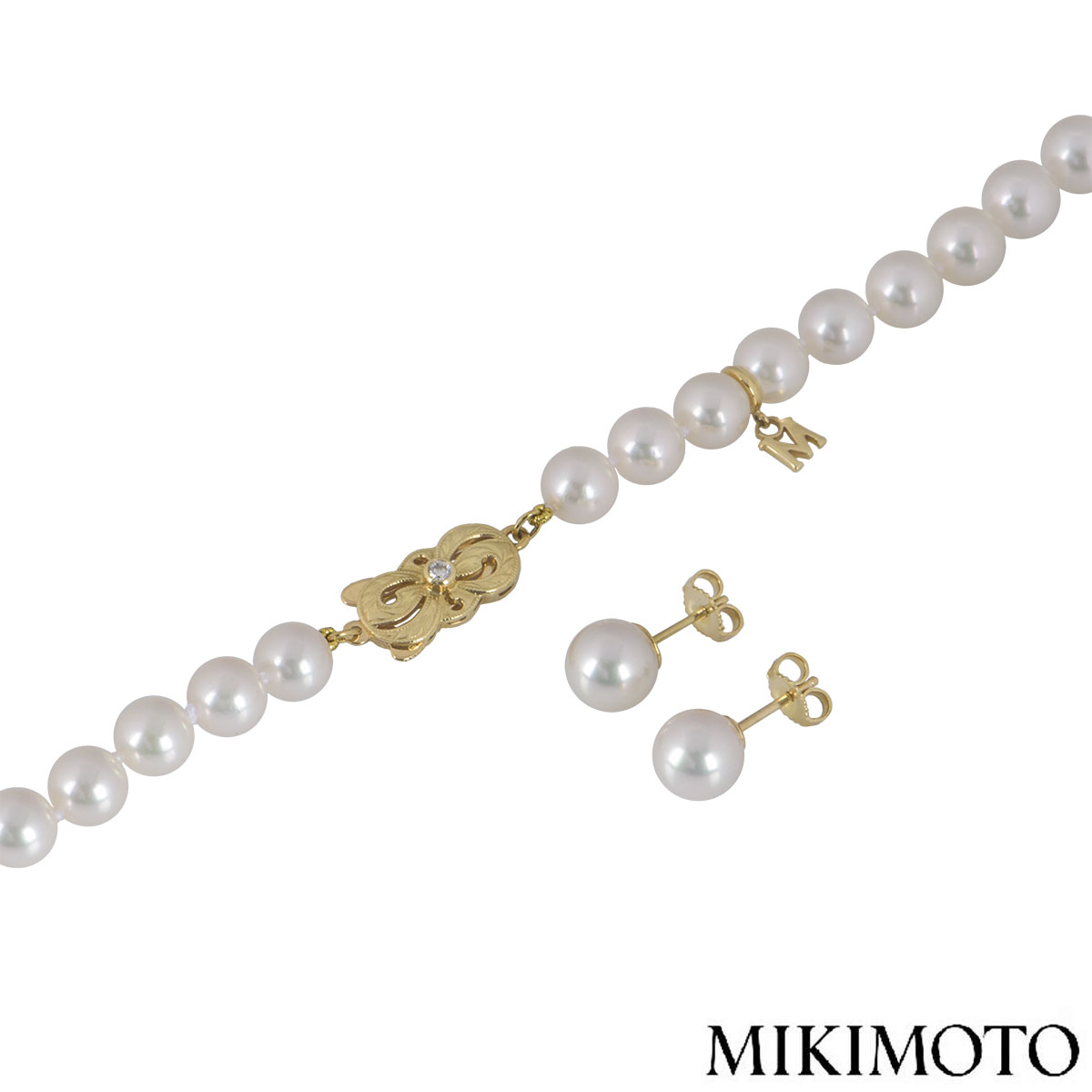 Mikimoto Yellow Gold Diamond & Pearl Suite